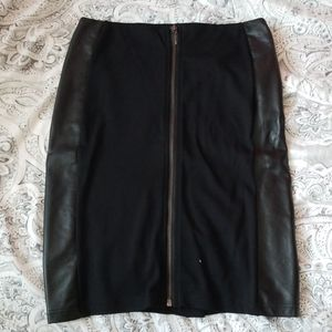 Black Paneled Pencil Skirt